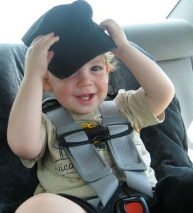 being silly in the car