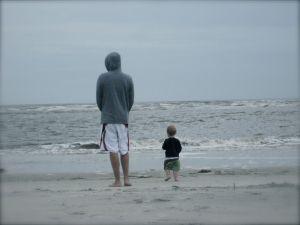 Dad and Nash enjoy the beach