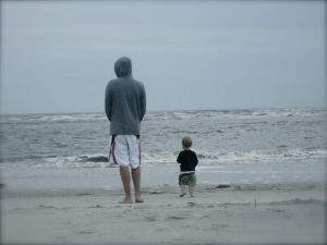 Dad and Nash enjoy the beach