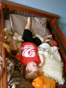 Completely exhausted and asleep in his big boy bed for the first time! More pictures of the room later!